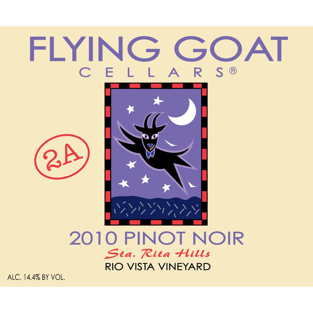 Flying Goat Cellars Rio Vista Vineyard Clone 2A Pinot Noir 2010 Front Label