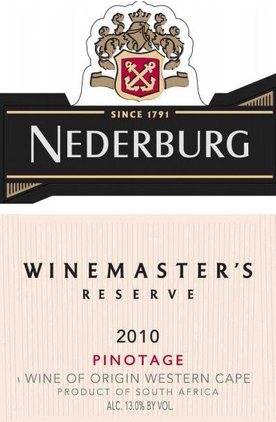 Nederburg Winemaster's Reserve Pinotage 2010 Front Label