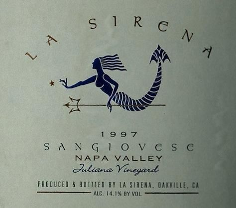 La Sirena Juliana Vineyard Sangiovese 1997 Front Label
