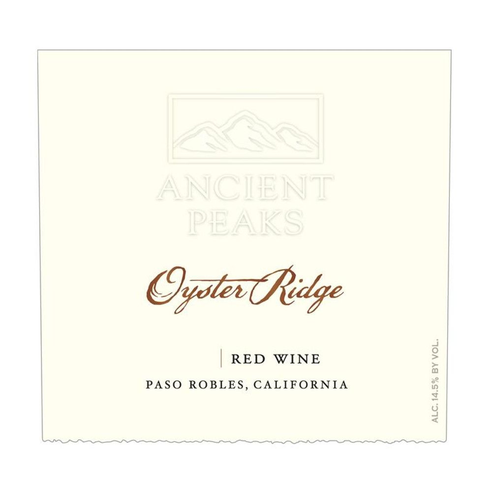 Ancient Peaks Paso Robles Oyster Ridge Red 2012 Front Label