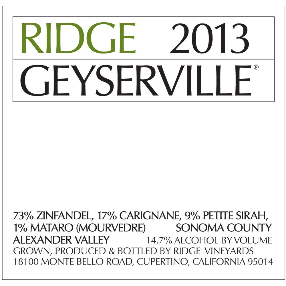 Ridge Geyserville (375ML half-bottle) 2013 Front Label