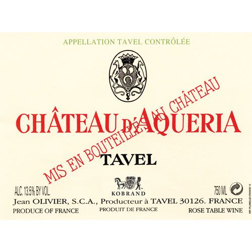Chateau D'Aqueria Tavel Rose 2014 Front Label