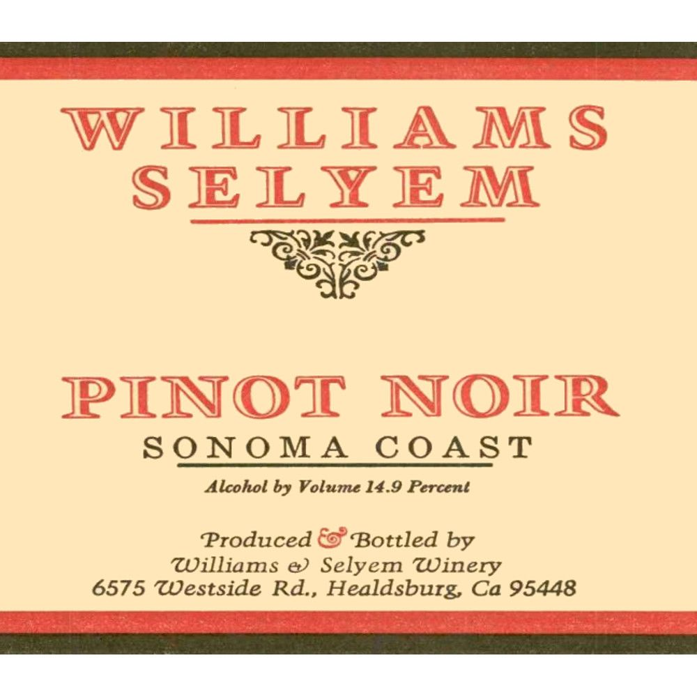 Williams Selyem Sonoma Coast Pinot Noir 2004 Front Label