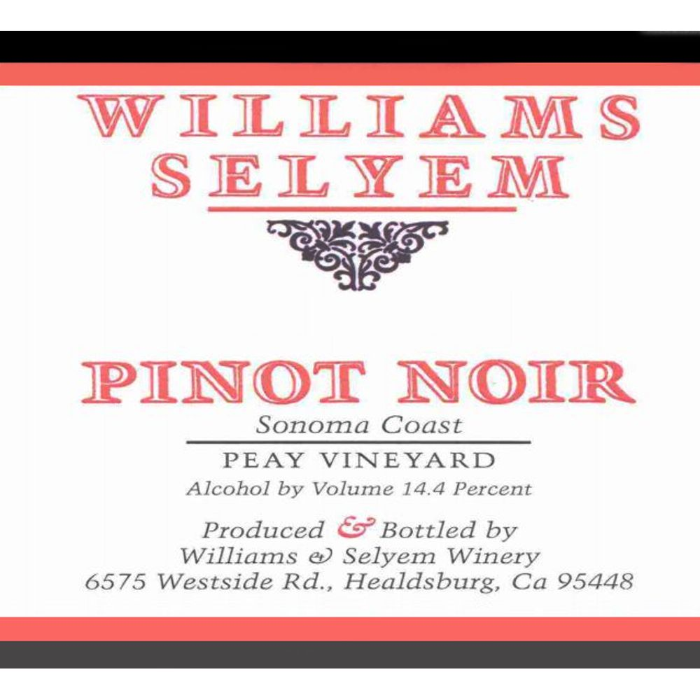 Williams Selyem Peay Vineyard Pinot Noir 2005 Front Label