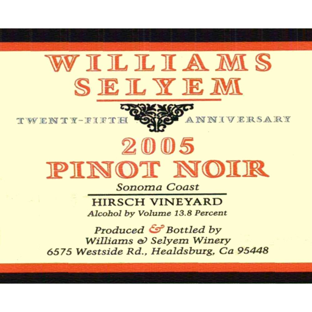 Williams Selyem Hirsch Pinot Noir 2005 Front Label