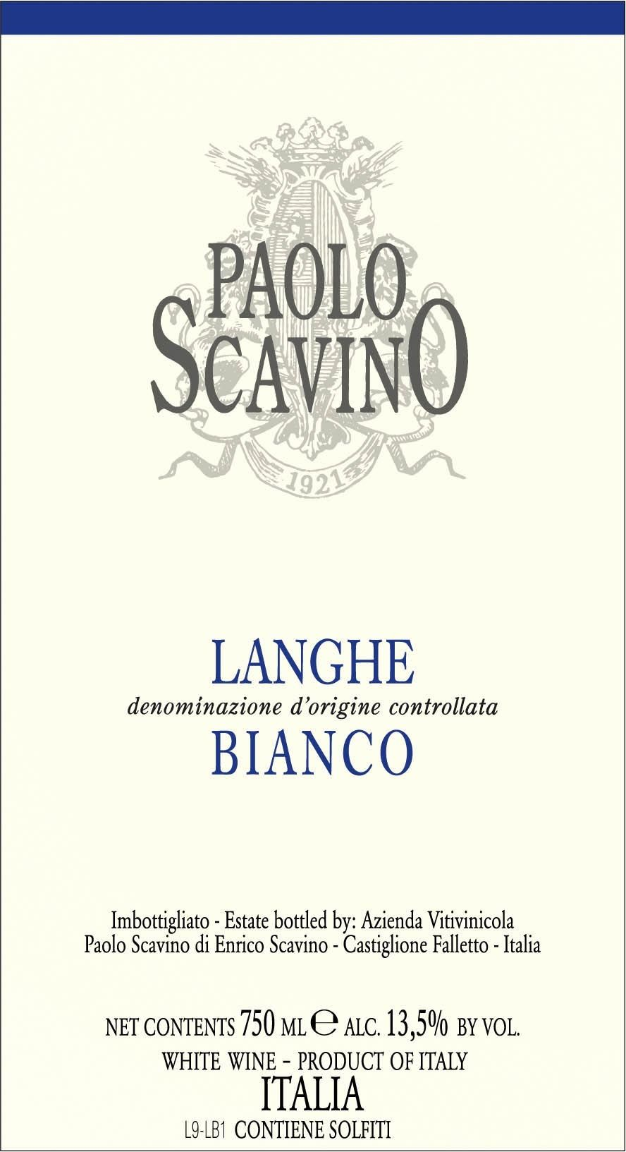 Paolo Scavino Langhe Bianco 2010 Front Label