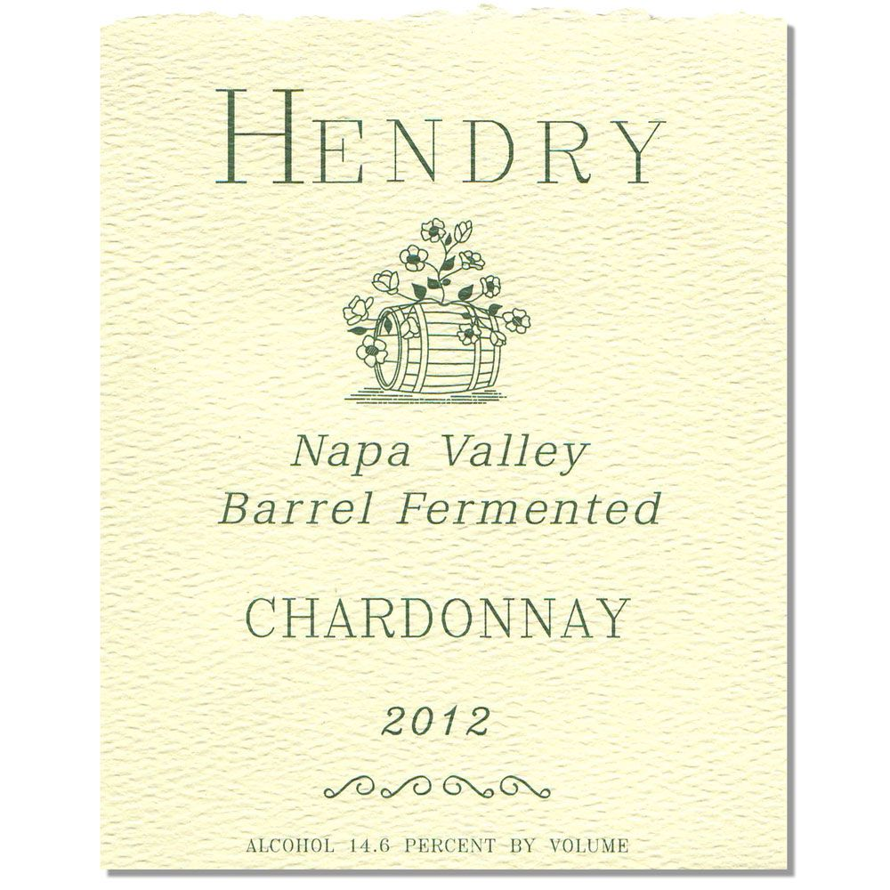 Hendry Barrel Fermented Chardonnay 2012 Front Label