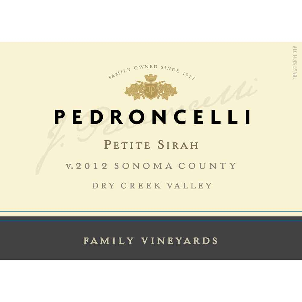 Pedroncelli Family Vineyard Petite Sirah 2012 Front Label