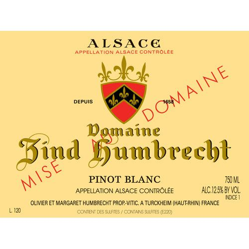 Zind-Humbrecht Pinot Blanc 2013 Front Label