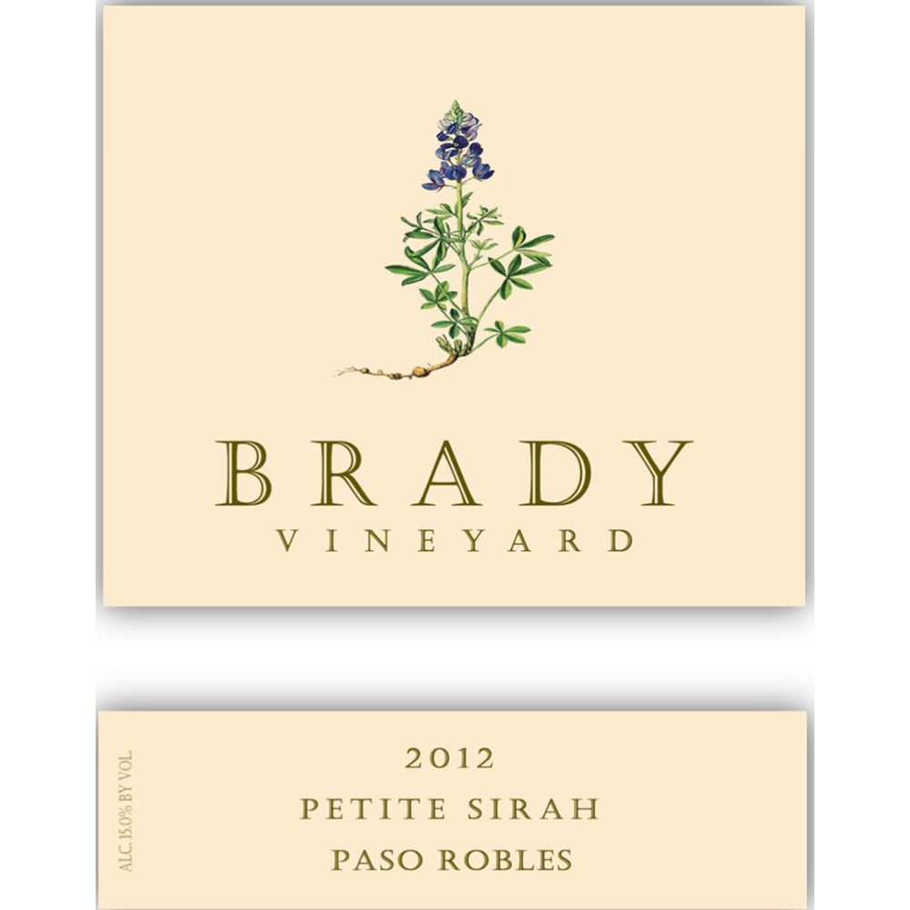 Brady Vineyard Petite Sirah 2012 Front Label