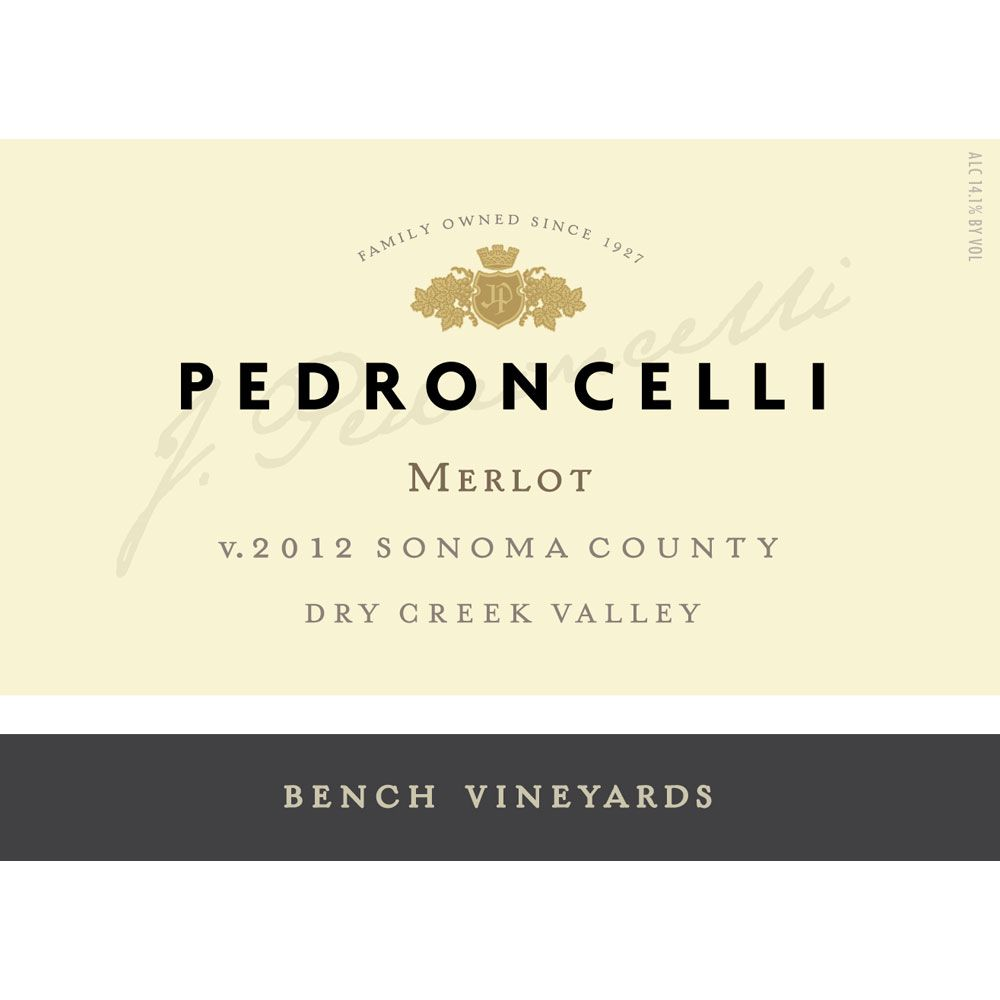 Pedroncelli Bench Vineyards Merlot 2012 Front Label