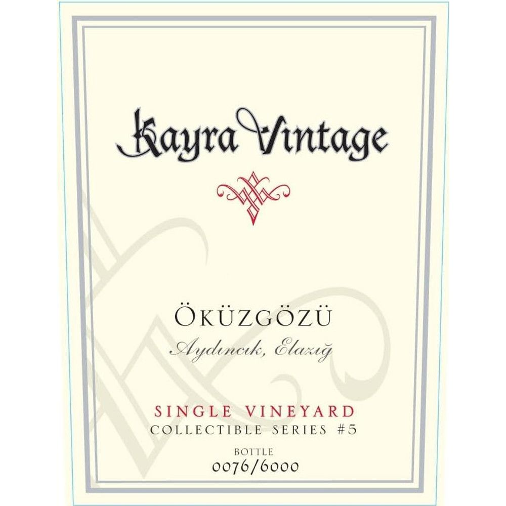 Kayra Single Vineyard Okuzgozu 2011 Front Label