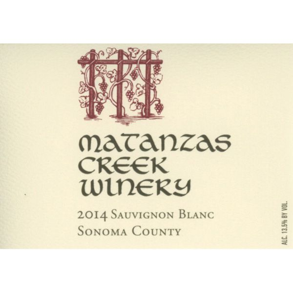 Matanzas Creek Sonoma County Sauvignon Blanc (375ML half-bottle) 2014 Front Label