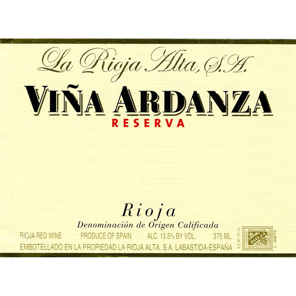 La Rioja Alta Vina Ardanza Reserva (375ML half-bottle) 2005 Front Label