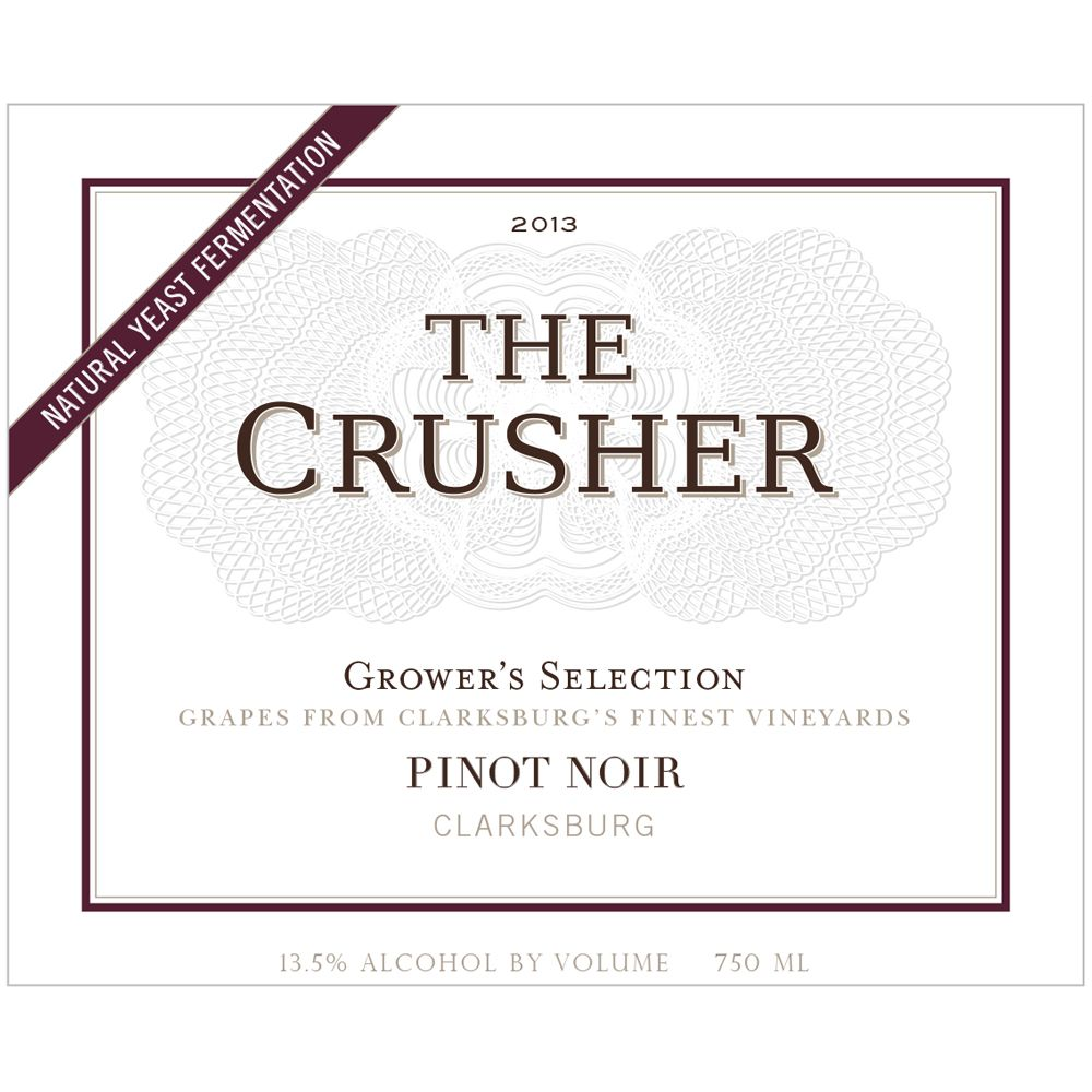 The Crusher Pinot Noir 2013 Front Label