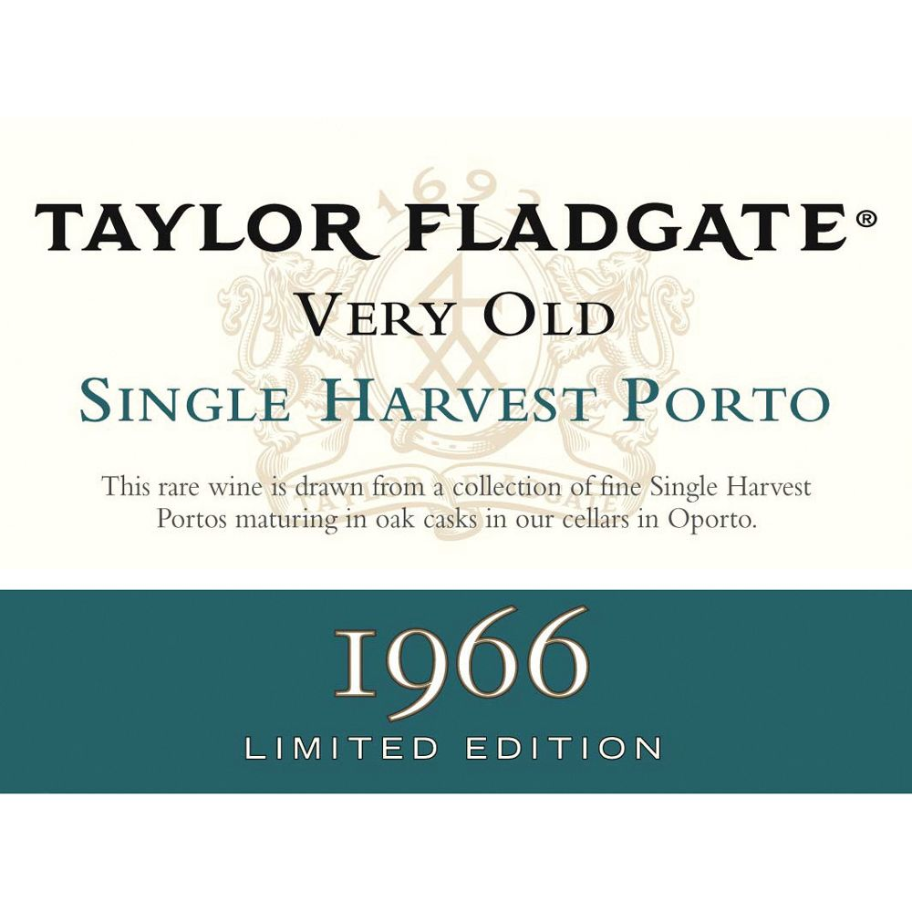 Taylor Fladgate Very Old Single Harvest Port 1966 Front Label
