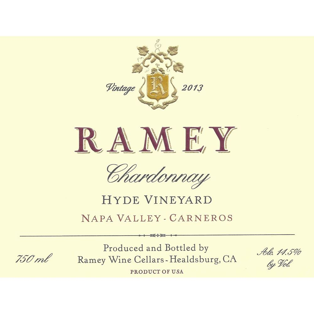 Ramey Hyde Vineyard Chardonnay 2013 Front Label