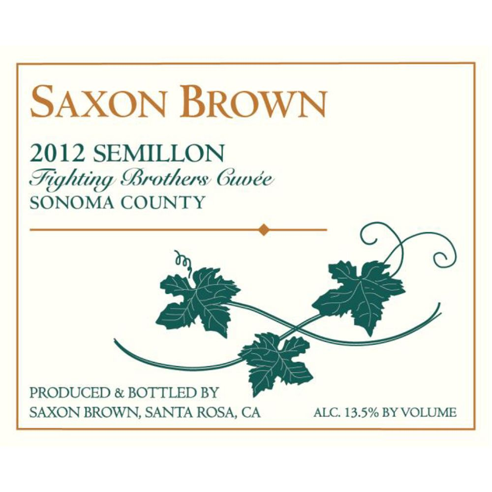 Saxon Brown Fighting Brothers Semillon 2012 Front Label