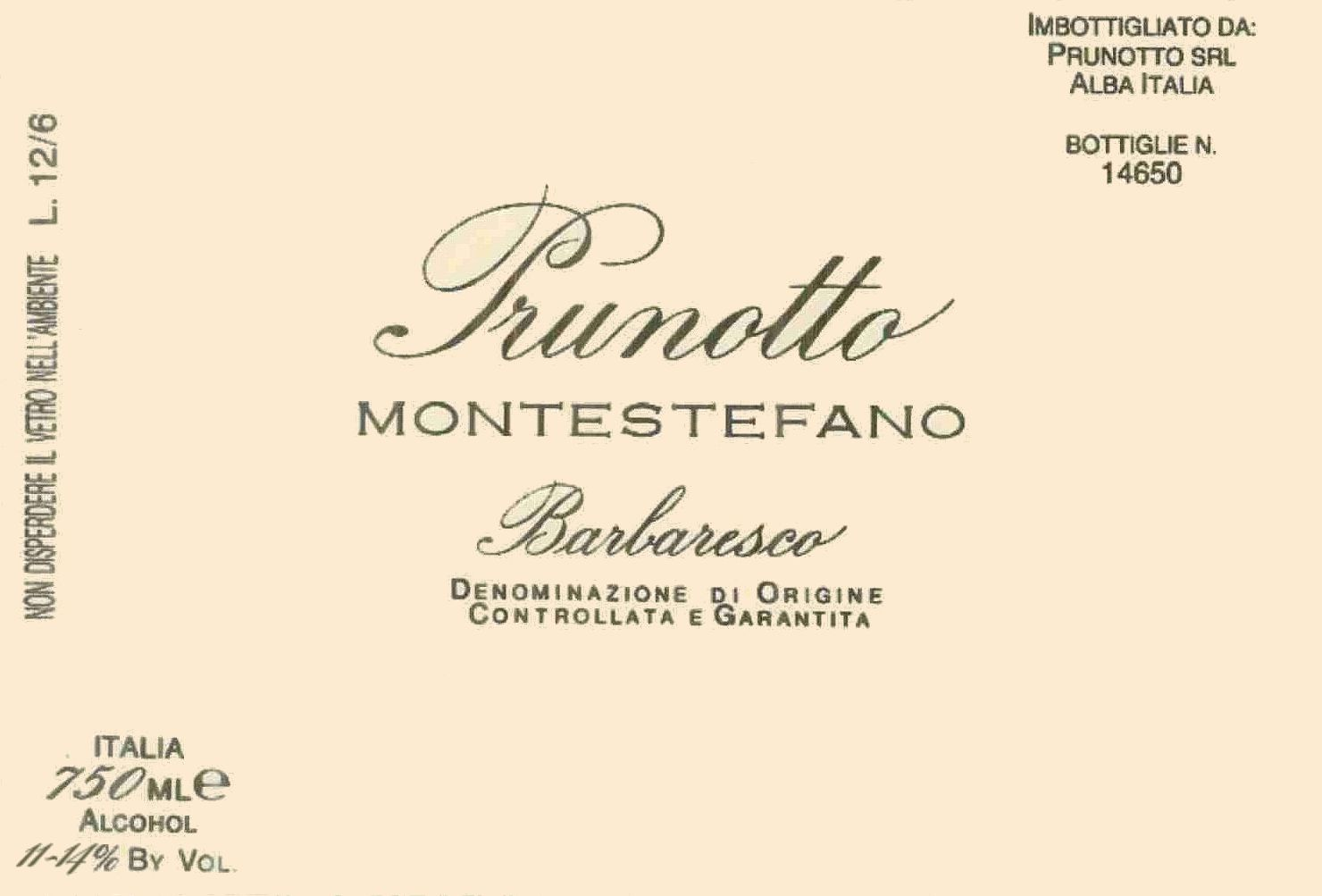 Prunotto Barbaresco Montestefano 1993 Front Label