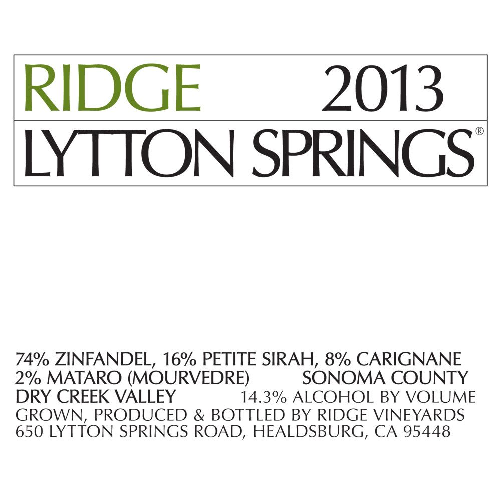 Ridge Lytton Springs (375ML half-bottle) 2013 Front Label