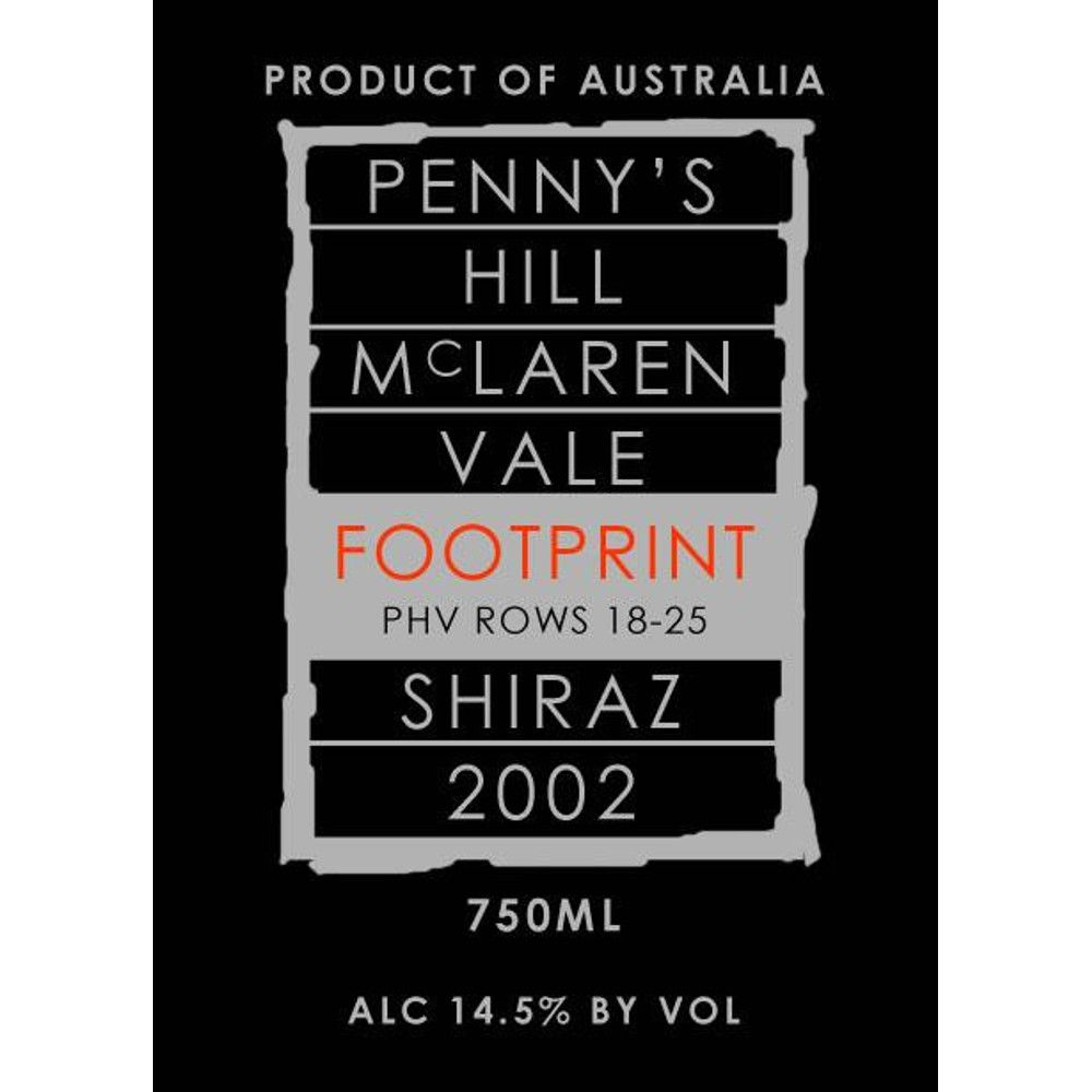 Penny's Hill Footprint Shiraz 2002 Front Label