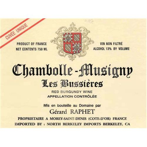 Domaine Gerard Raphet Chambolle-Musigny Les Bussieres 2013 Front Label