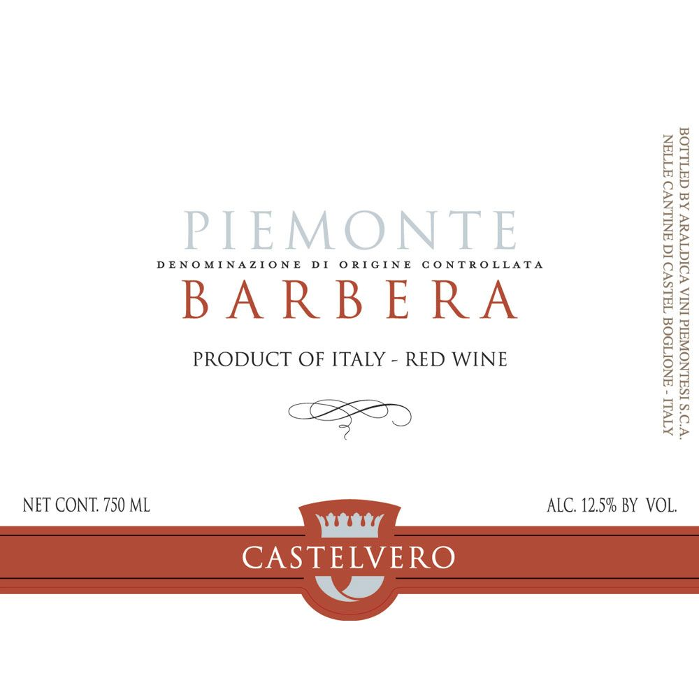 Castelvero Barbera 2014 Front Label