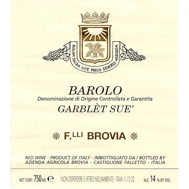 Brovia Garblet Sue Barolo 2011 Front Label