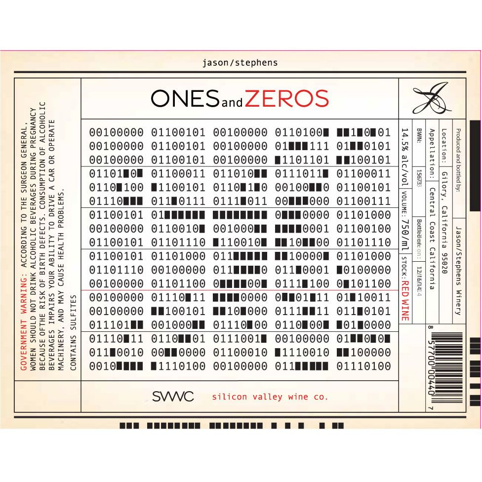 Jason-Stephens ONES and ZEROS Red Wine Front Label