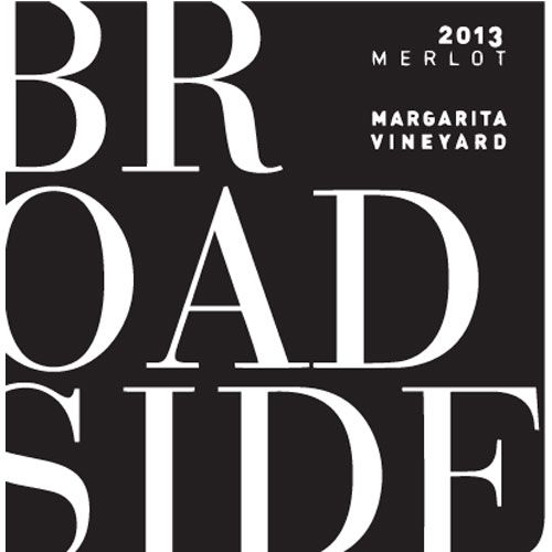 Broadside Margarita Vineyard Merlot 2013 Front Label