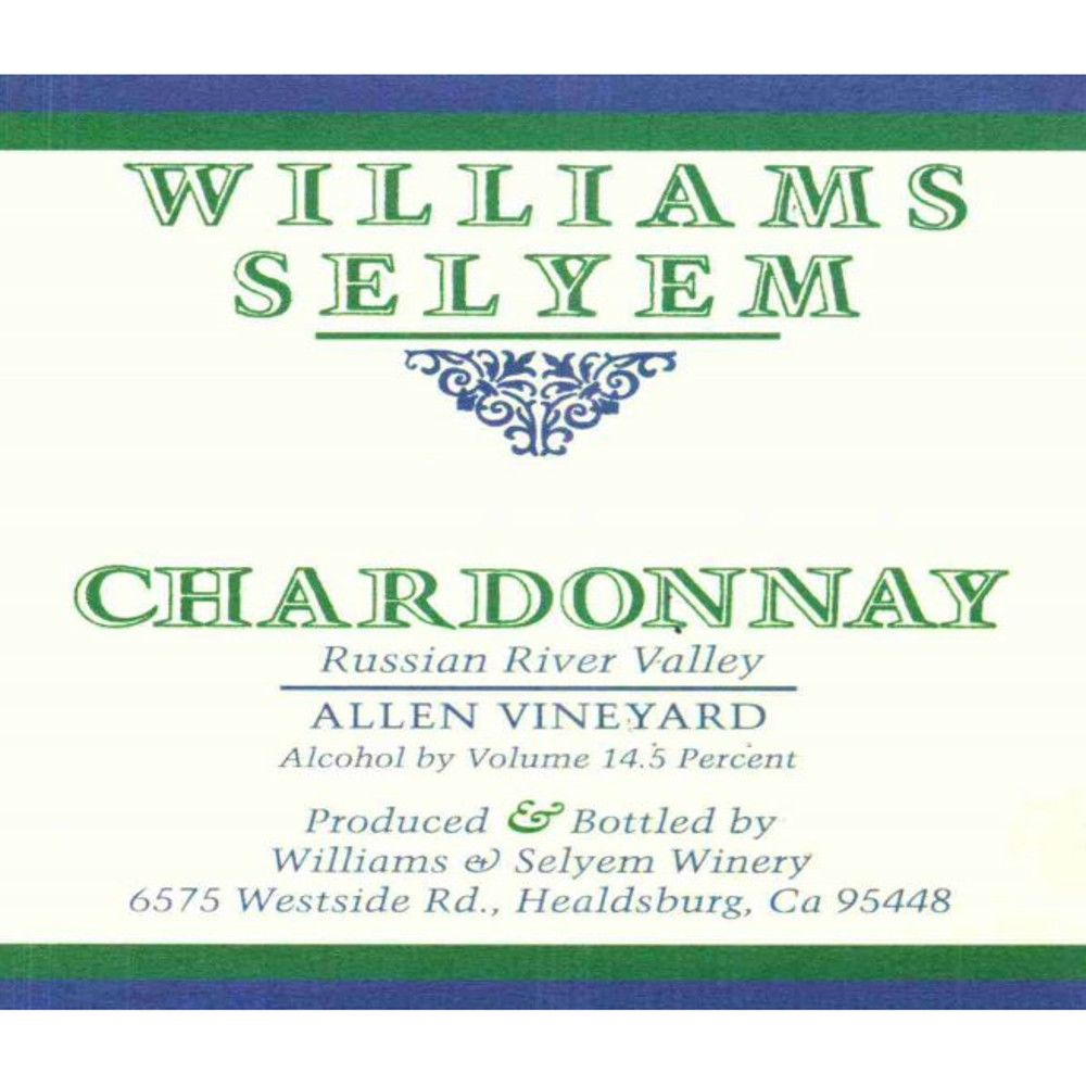 Williams Selyem Allen Vineyard Chardonnay 2013 Front Label