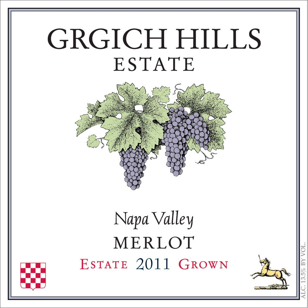 Grgich Hills Estate Merlot (375ML half-bottle) 2011 Front Label