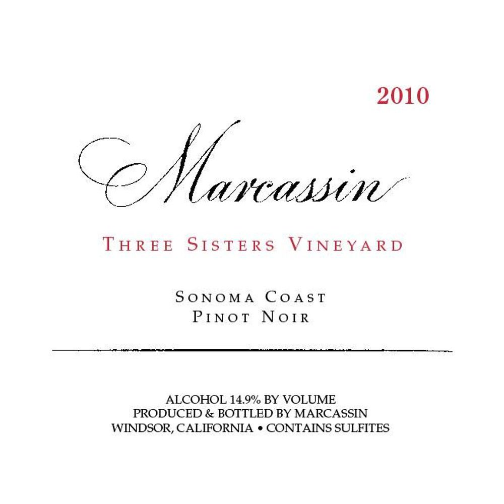 Marcassin Three Sisters Vineyard Pinot Noir 2010 Front Label