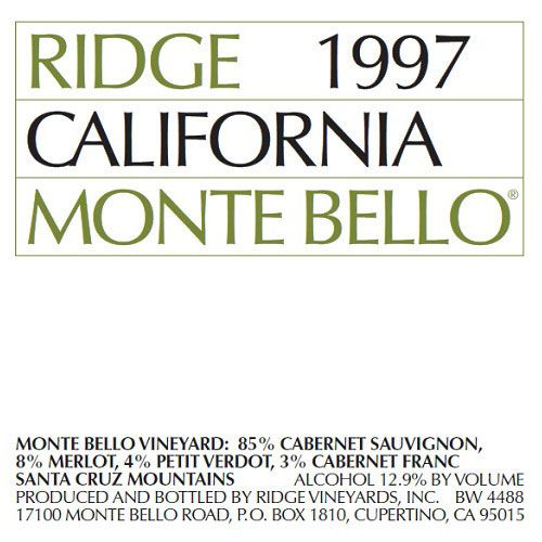 Ridge Monte Bello 1997 Front Label