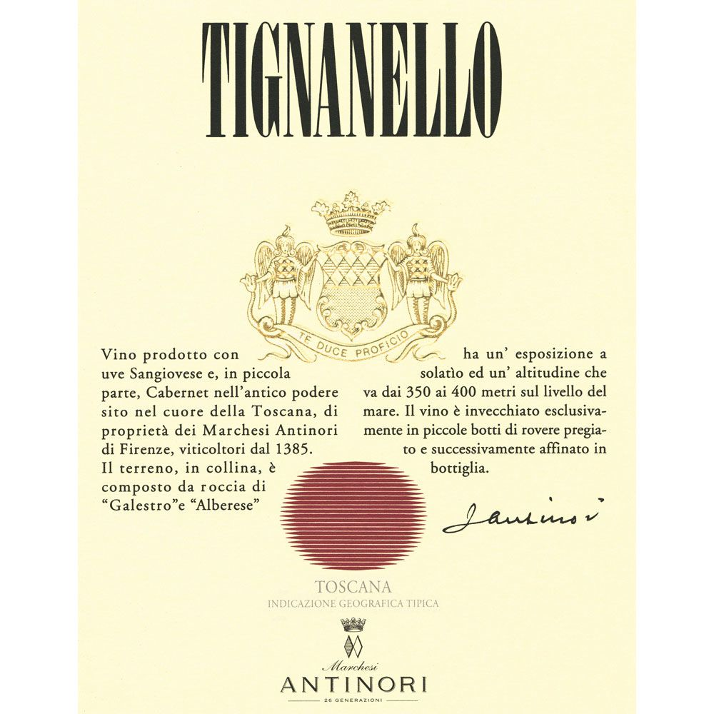 Antinori Tignanello (3 Liter Bottle) 2012 Front Label
