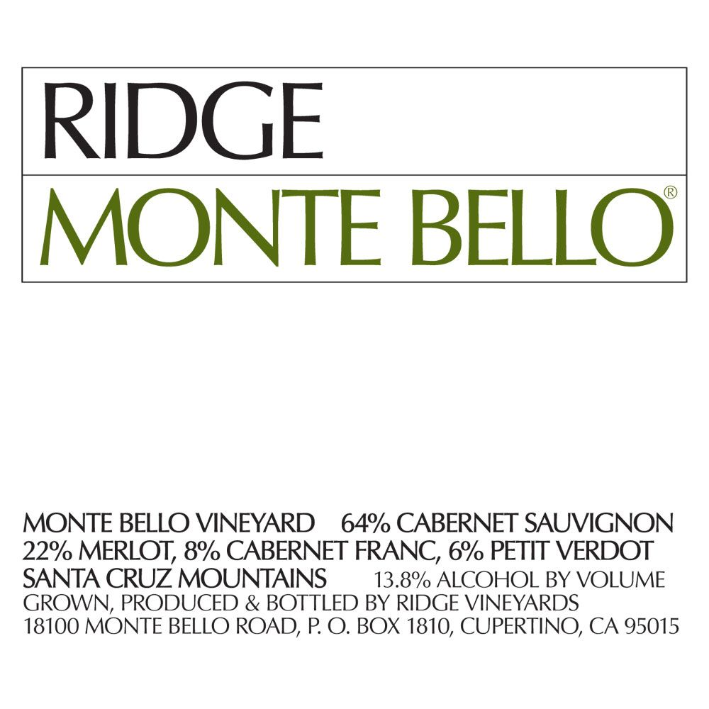 Ridge Monte Bello 1975 Front Label