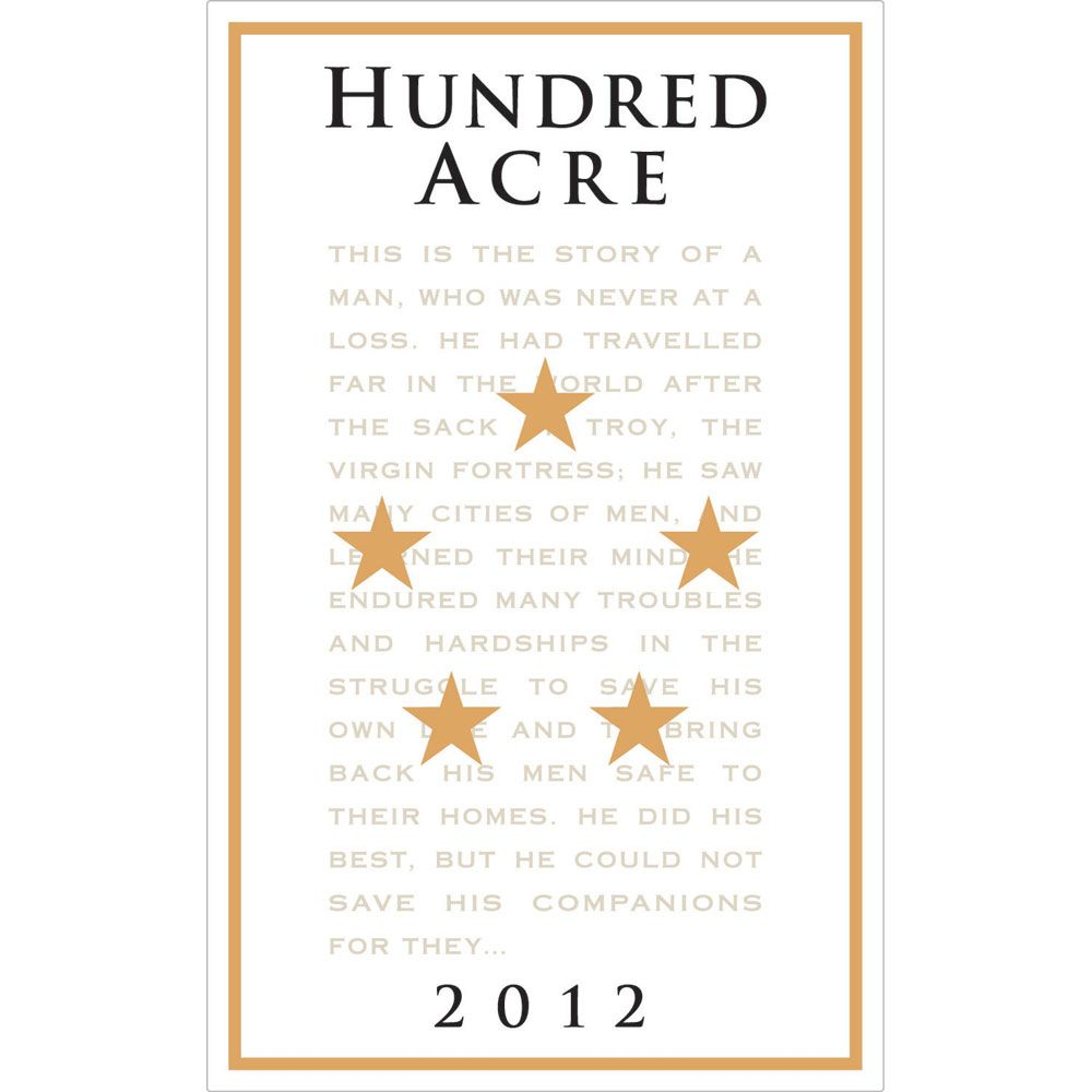 Hundred Acre Ark Vineyard Cabernet Sauvignon 2012 Front Label