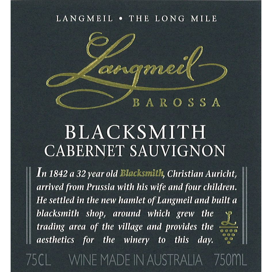 Langmeil The Blacksmith Cabernet Sauvignon 2013 Front Label