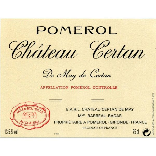 Chateau Certan de May  2015 Front Label
