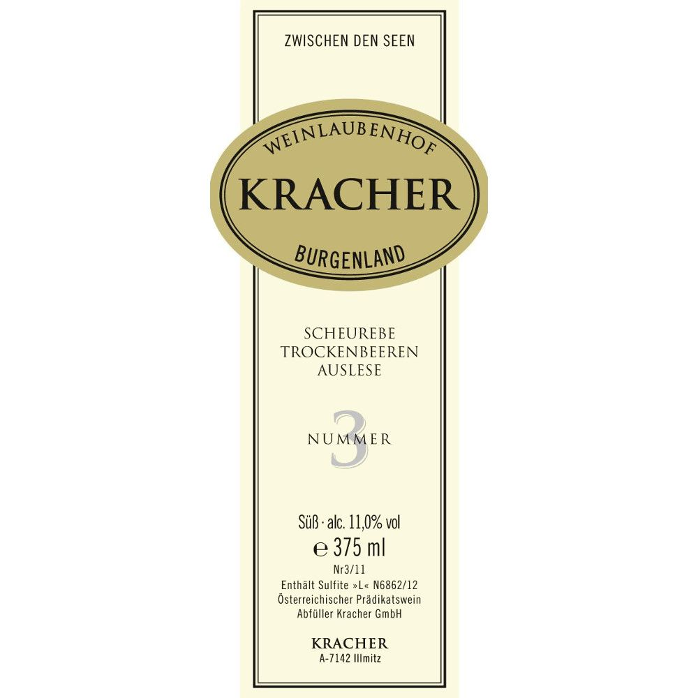 Kracher Scheurebe Trockenbeerenauslese Auslese No. 3 (375ML half-bottle) 2012 Front Label