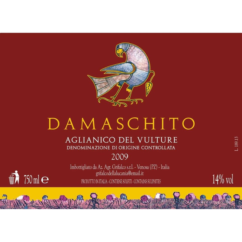 Grifalco Aglianico del Vulture Damaschito 2009 Front Label