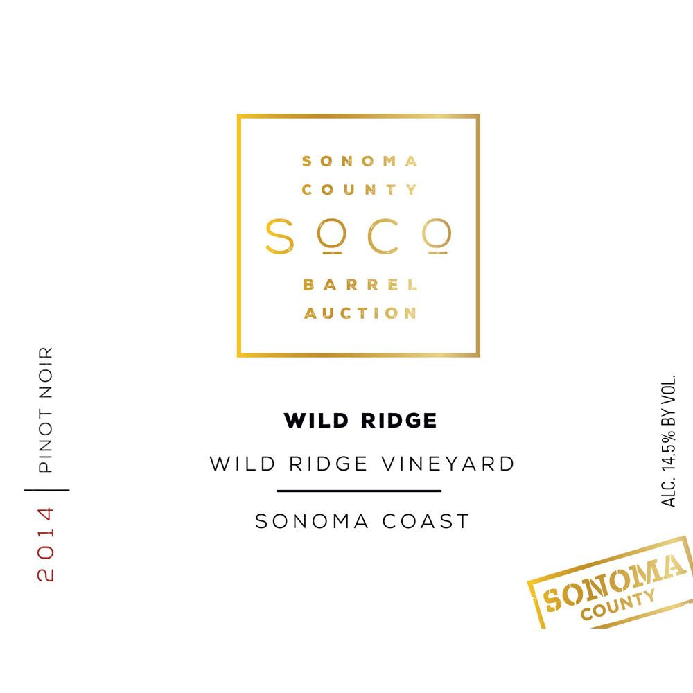 Wild Ridge Wild Ridge Vineyard Pinot Noir (Sonoma Barrel Auction) 2014 Front Label
