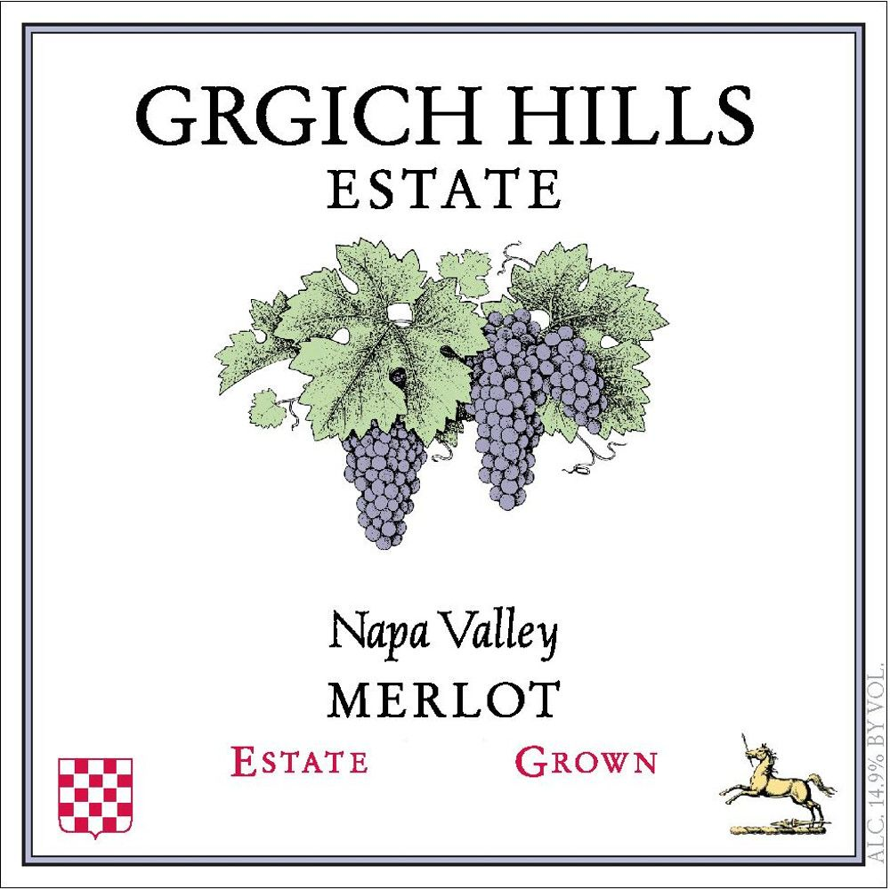 Grgich Hills Estate Merlot 2012 Front Label