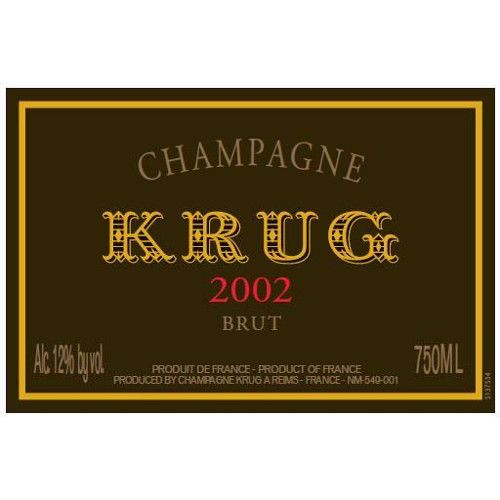 Krug Vintage Brut with Gift Box 2002 Front Label
