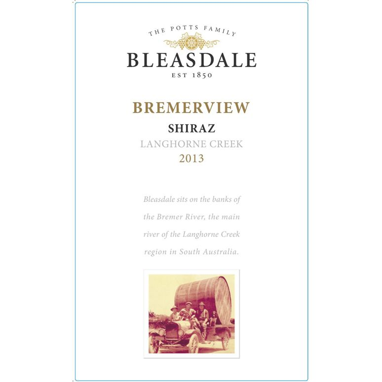 Bleasdale Bremerview Shiraz 2013 Front Label