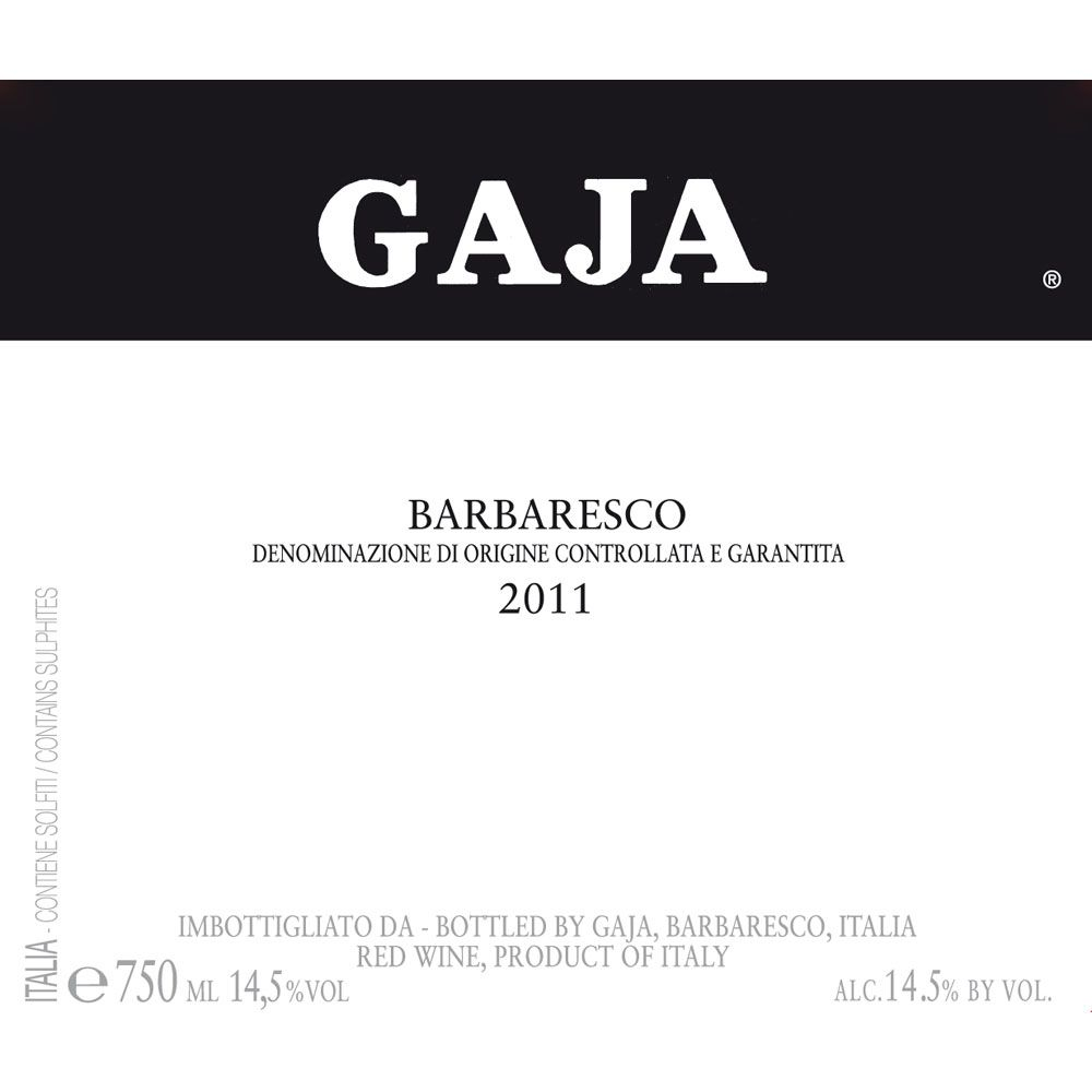 Gaja Barbaresco (375ML half-bottle) 2011 Front Label