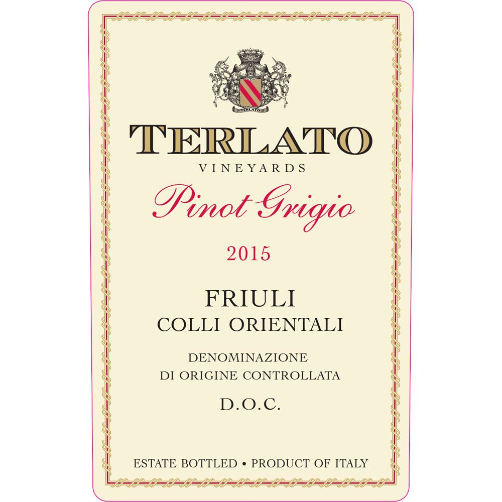 Terlato Family Vineyards Friuli Pinot Grigio 2015 Front Label