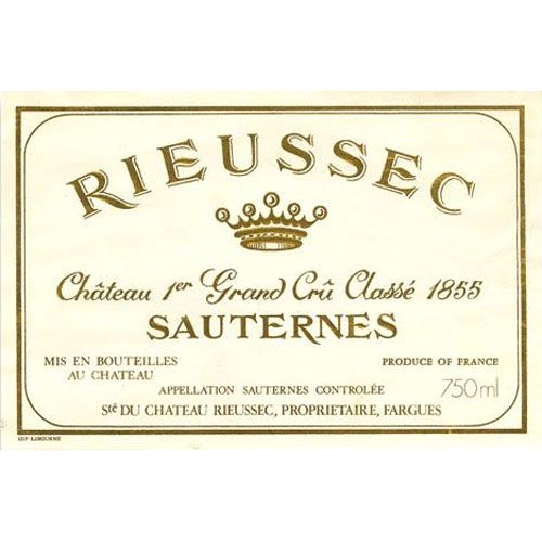 Chateau Rieussec Sauternes (375ML half-bottle) 2013 Front Label