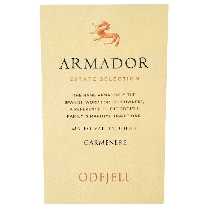 Odfjell Armador Carmenere 2013 Front Label