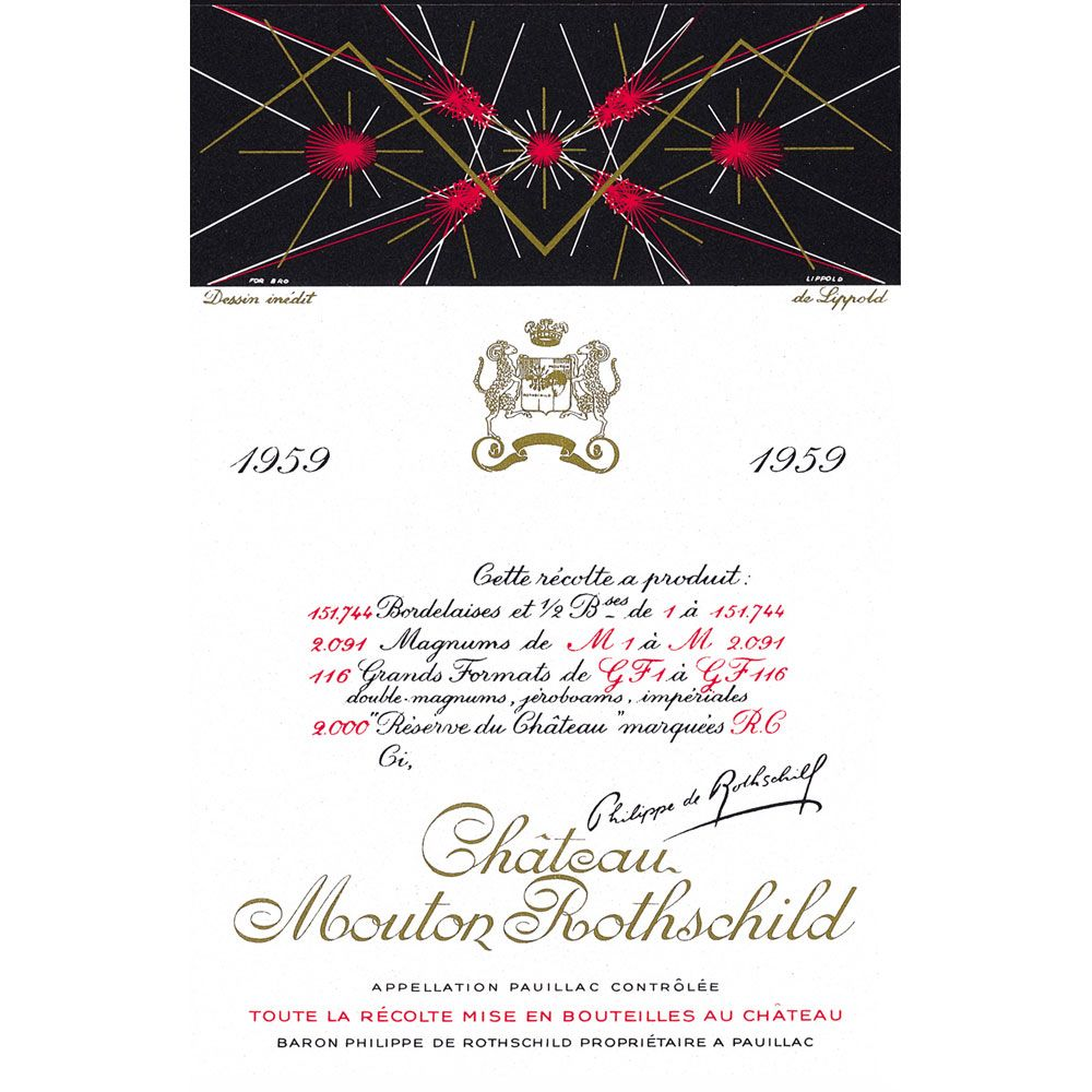 Chateau Mouton Rothschild  1959 Front Label